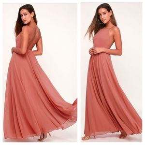 Lulu's Mithical Kind of love rusty rose maxi dress